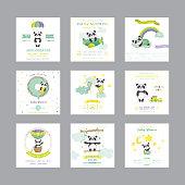 Baby Shower Card. Arrival Baby Card. Baby Panda Animal. Vector Set.