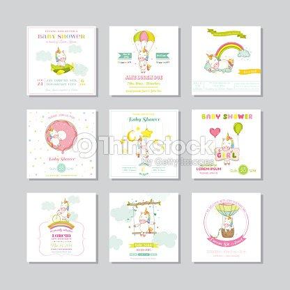 baby shower card arrival baby card baby unicorn girl vector art