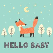 Baby shower card with a cute fox and with text Hello baby. Vector illustration