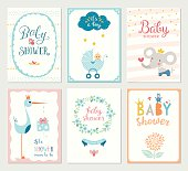 Set of 6 baby shower cards with floral wreath, frames, elephant, baby carriage, baby boy, decorative flowers, butterflies, stars, stork, gift box and hand lettering. Template for printable cards and s