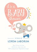 Baby shower invitation template. Card design with baby elephant, heart shape and hand lettering. Vector illustration.