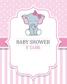baby shower girl. Cute Elephant with tie. space for text