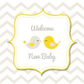 Baby shower with two cute yellow birds, vector illustration, eps 10 with transparency