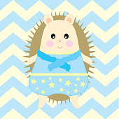 Baby Shower Illustration with cute boy porcupine suitable for Nursery wall decoration and postcard