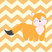Baby Shower Illustration with cute fox suitable for Nursery wall decoration and postcard