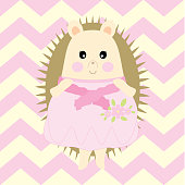 Baby Shower Illustration with cute girl porcupine suitable for Nursery wall decoration and postcard