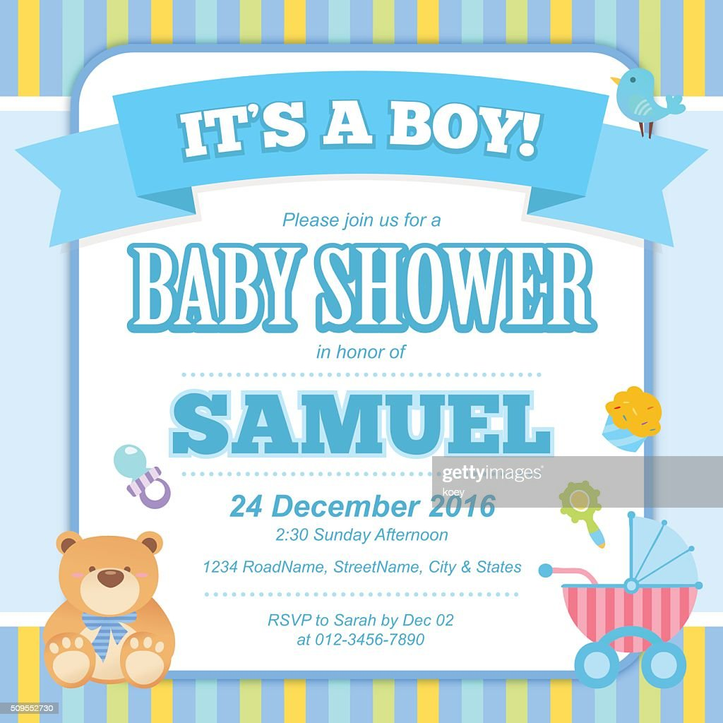 Baby Shower Invitation Card Vector Art – Baby Shower Invitation Cards for Boys