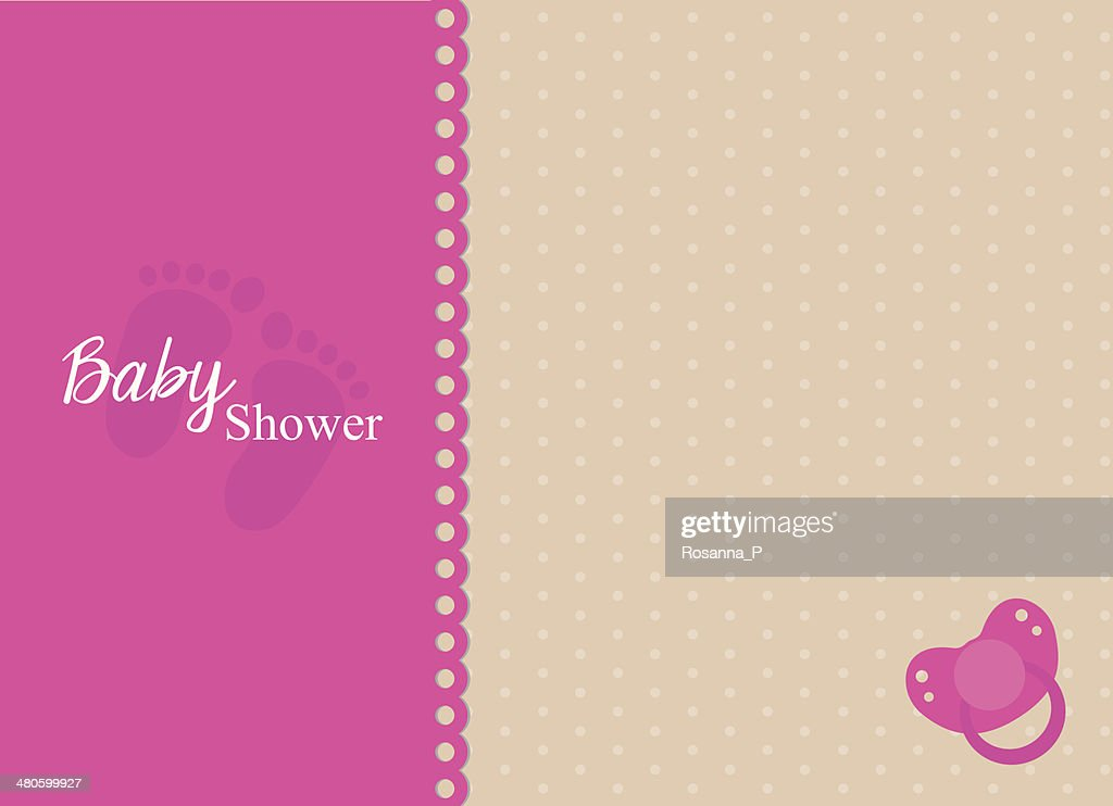 baby shower invitation card with fuchsia pacifier : Vector Art