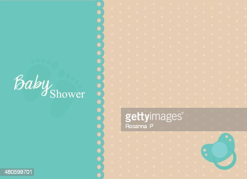 baby shower invitation card with turquoise pacifier : Vector Art