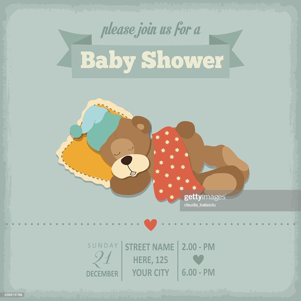Ducha de bebé en estilo retro invitación : Arte vectorial