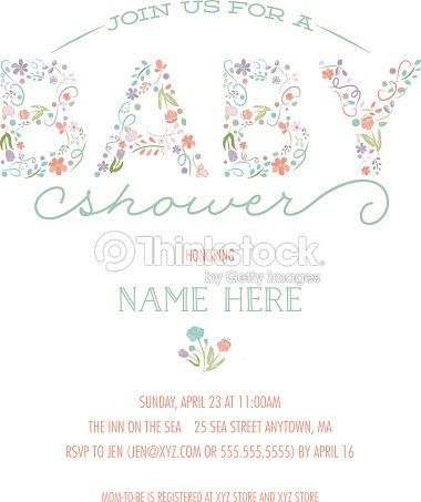 baby shower invitation template invite with floral design ベクトル