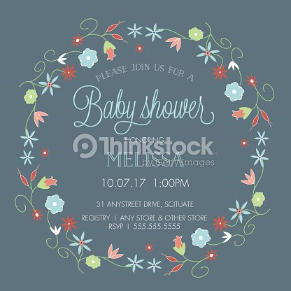 Baby Shower Invitation Template With Floral Wreath Border Vector Art