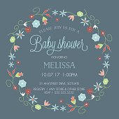 Baby Shower Invitation Template - Invite with pretty, abstract Floral Wreath Border. Perfect customizable design for a baby boy or a baby girl invitation or announcement.