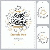 Baby shower invitation templates set. Floral design elements for decoration. Baby shower holiday greeting cards. Hand drawn vintage illustration.