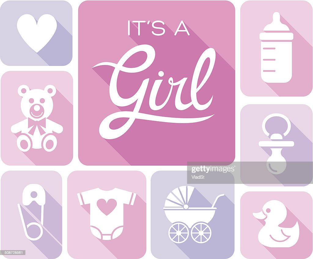 baby shower its a girl vector art getty images