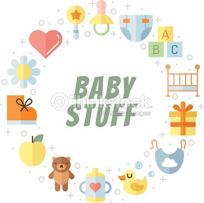 Baby Stuff Flat Multicolored Cute Vector Circle Frame ...