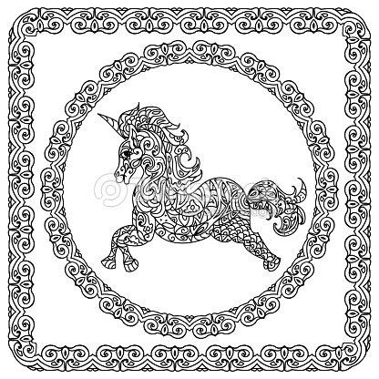 Bebé Unicornio Para Colorear Página Arte vectorial | Thinkstock