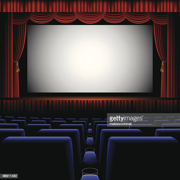 A back row view of a cinema screen