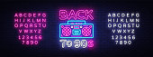 Back to 90s neon poster, card or invitation, design template. Retro tape recorder neon sign, light banner. Back to the 90s. Vector illustration in trendy 80s-90s neon style. Editing text neon sign.