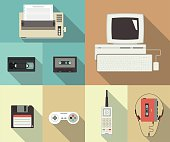 Back to nineties vector conceptual flat set of printer, computer, video cassette, floppy disk, telephone and player with headset