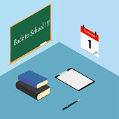 Back to school. Books, checklist, clipboard and pen on desktop, worktable. Calendar on the wall. Vector illustration