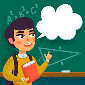 Back To School concept. Boy standing in front of blackboard with speech bubble copy space. Pupil in school class. Student answering question. Flat style cartoon Vector Illustration