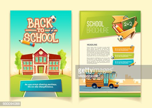 Back to school brochure vector cartoon template : Vector Art