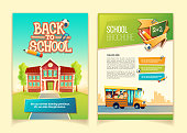 Back to school brochure vector cartoon template, educational leaflet with happy kids, riding on yellow schoolbus. Colorful cover or page for book, ready flyer for print with infographic elements