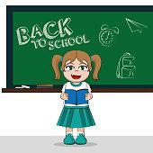 Back to school cute student girl cartoon vector illustration graphic design