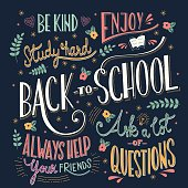 Back to school colorful typography drawing on blackboard with motivational messages, hand lettering, vector illustration