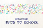Back to school - cute poster with hand drawn elements. Vector.