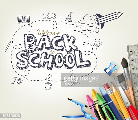 Back to School Doodle concept in white background with Items : Vektorgrafik