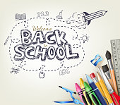 Back to School Doodle concept in white background with School Items.  Vector Illustration