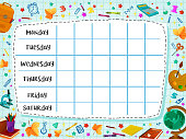School timetable template or weekly lesson schedule on checkered page. Vector school backpack rucksack, book, pencil or pen stationery and globe or autumn maple leaf pattern background