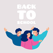 Back to school greeting card with happy children embracing each other. Smiling school friends hugging together, waving hands.