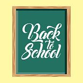 back to school green chalkboard text vector illustration