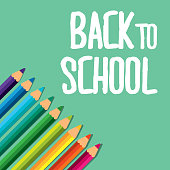 back to school collection pencil colors vector illustration