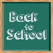 back to school inscription on chalkboard vector illustration