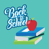 back to school apple on stack books vector illustration