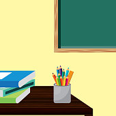 back to school room desk books colored pencils and blackboard vector illustration
