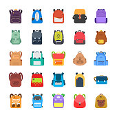 A pack displaying elegantly designed backpacks, rucksacks,  knapsacks, luggage bags and office compact portfolio bags. Each icon is different to the other and giving new concept to evert new bag. Thes