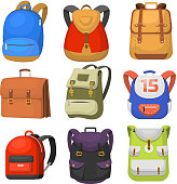 Back to School kids school backpack vector illustration. School work time