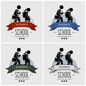 Vector artwork of small children walking with schoolbag. Students going back to study at school.