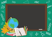 Vector banner with school accessories against a green background, chalkboard, globe, books, grad cap, school supplies and autumn leaves.