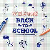 Back to school poster, education background. Back to school inscription on the background of school stationery items and hand drawn icons