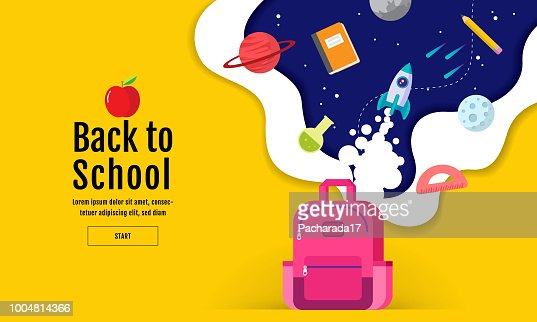 back to school sale banner, poster, flat design colorful, vector : stock vector