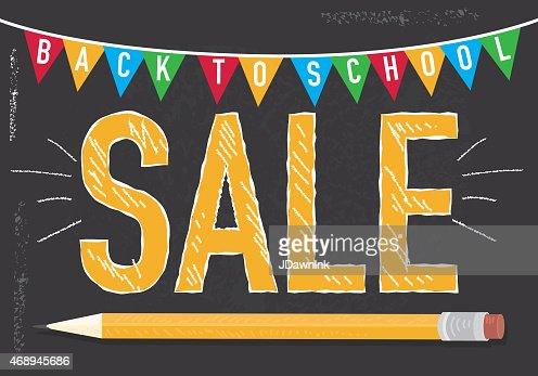Back To School Sale Chalkboard And Bunting Banner Sign