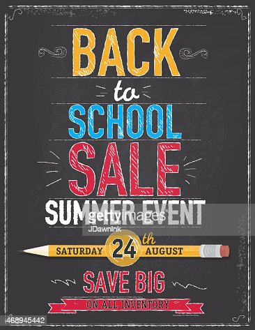 Back To School Sale Poster Chalkboard Design Vector Art ...