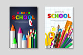 Back to school sale posters with 3d realistic school supplies and paper cut style letters. Poster for seasonal discount. Vector illustration.