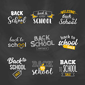 Back to school sale text typography set. Vector illustration